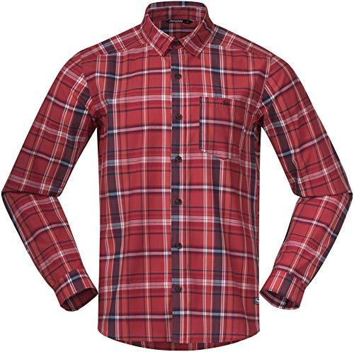 Bergans Kikut T-Shirt Homme, Red Check Modèle S 2020 T-Shirt Manches Longues
