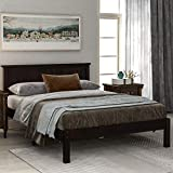 Twin/Full/Queen Wood Platform Bed, WeYoung Twin/Full/Queen Size Bed Frame/Mattress Foundation with 36' Tall Headboard and Wood Slat Support, No Box Spring Needed (Espresso,Queen)