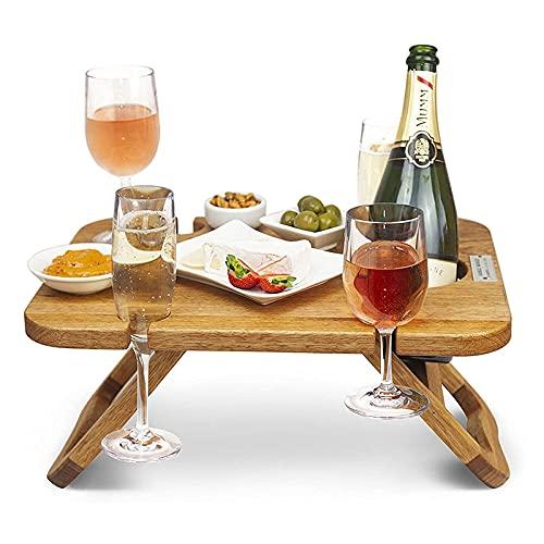 MJWLKJ Mesa de Vino Plegable para Exteriores, Mesa de Picnic Portátil, Mesa de Picnic Plegable Portátil para Vino y Champán, para Amantes del Vino, Eventos, Cenas Románticas, Playa, Camping, Jardín