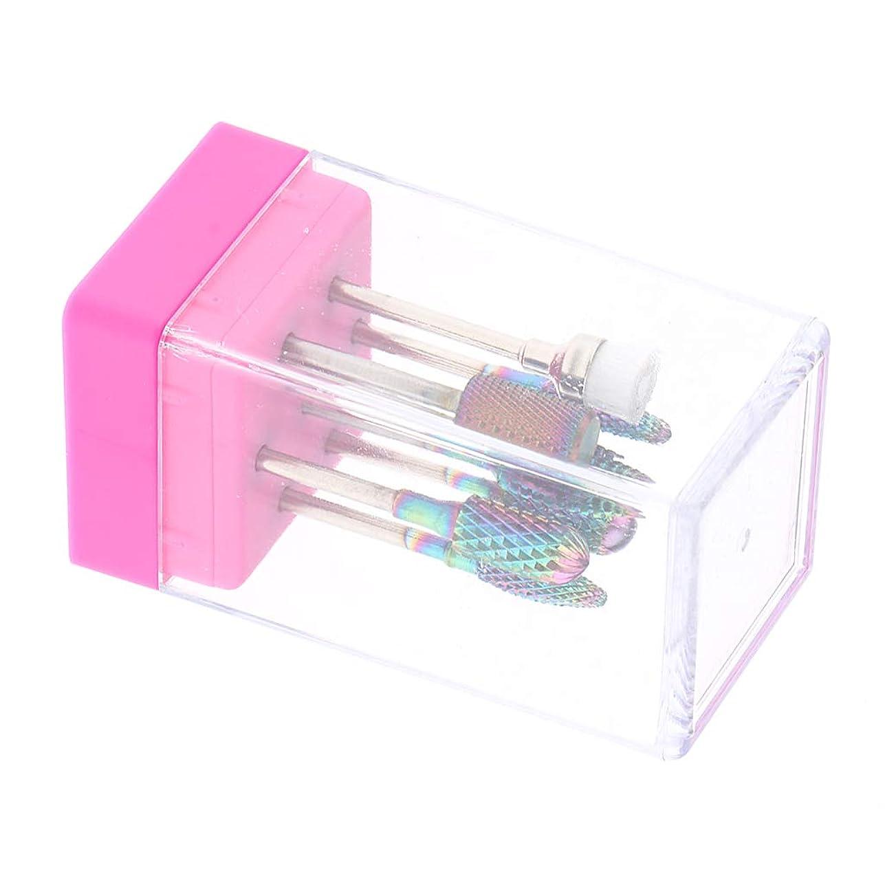 なに母音全部Perfeclan ネイルドリルビット 研磨ヘッド マニキュアツール ペディキュア用 爪やすり 全2色 - ピンク