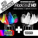 ROCKSTIX 2 HD WHITE BRIGHT LED LIGHT UP DRUMSTICKS with fade effect Set your gig on fire! (WHITE and COLOR CHANGE TWIN PACK) [並行輸入品]