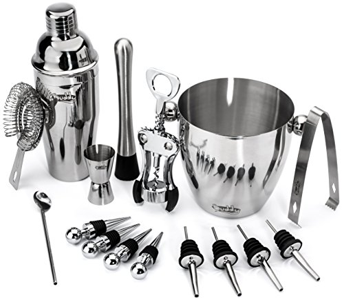 Buddy 16-Piece Wine and Cocktail Mixing Bar Set–Bartender Kit w/Essential Barware Tools-Large 25 oz. Stainless Steel Shaker, Ice Bucket, Muddler, Double Sided Jigger - Free 1000 Cocktail Recipes PDF