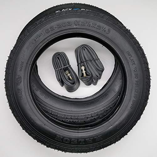 Black1 2x12 Zoll Reifen + Schläuche (DV) 12 1/2 x 2 1/4   ETRTO 62-203 … Decke Mantel Fahrrad Kinder Roller Anhänger gerades Dunlop-/Blitzventil (12