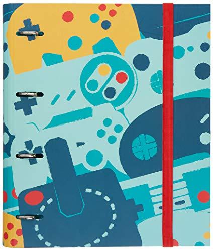 Grupo Erik - Carpeta 4 anillas troquelada premium Gamer, 32x26 cm