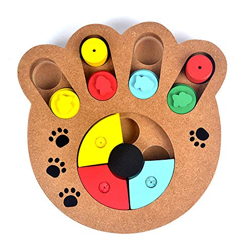 Yowablo Haustier Hund Spiel Training Holz IQ Interactive Toy Food Dispensing Puzzle Hide & Seek (24 * 23.5 * 3cm,Khaki)