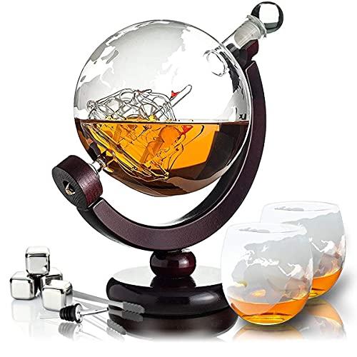 Whisiskey® Whisky Decanter – Mappamondo – 900 ml - Regalo Uomo – Include 2x Bicchieri Wisky, 4x Pietre Whiskey e Beccuccio