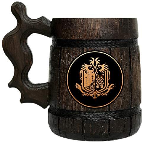 Monster Hunter World Mug. MHW Beer Mug. Gamer Gift. Beer Mug. Wooden Beer Mug. Gamer Mug. Monster Hunter Tankard. Gift For Him. Beer Stein Wood #107/0.6L / 22 ounces