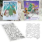 Christmas Forest Animal 1Set Silicone Clear Stamp with Cutting Dies Stencil DIY Scrapbooking Embossing Photo Album Decorative Paper Card Craft Art Handmade