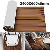 Moqueta Barco 2400 x 600 x 6 mm EVA Foam Marrón con líneas Negras con el Revestimiento de látex de Suelo Barco
