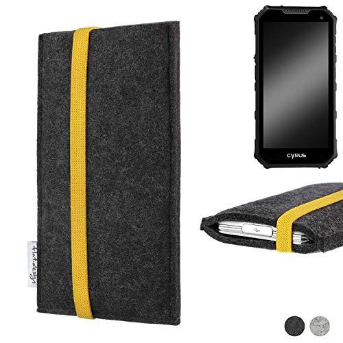 flat.design Handy Hülle Coimbra für Cyrus CS 24 passgenau Handytasche Filz Tasche fair schwarz gelb