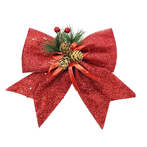 allgala Christmas Decorative Bows for Wreath Garland Treetopper Christmas Tree (07 Med Red 4-PK)-XBW93024