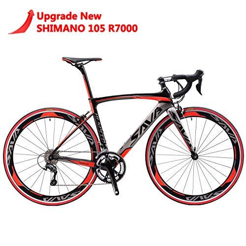 SAVANE Bicicleta Carretera Carbono,Warwind5.0 Bicicletas Carretera 700C con Engranajes Shimano 105 R7000 22 Velocidad Bici Carretera Carbono (Rojo, 54)