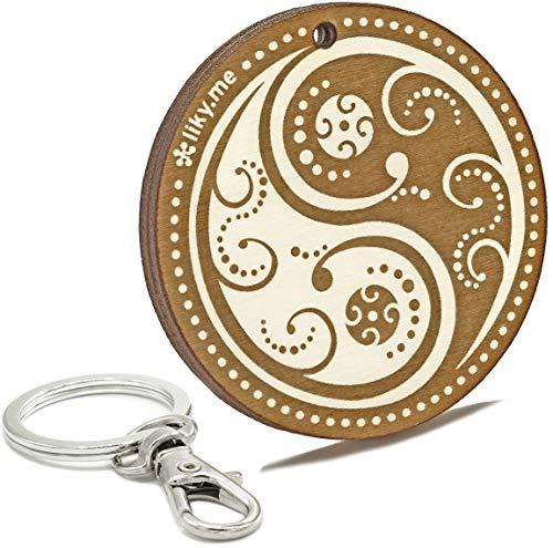 LIKY® Ying Yang - Llavero Original de Madera Grabado Amuleto de la...