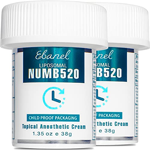 Ebanel 5% Lidocaine Topical Numbing Cream Maximum Strength, 2-Pack of 1.35 Oz, Numb 520 Pain Relief Cream Anesthetic Cream Infused with Aloe, Vitamin E, Lecithin, Allantoin, with Child Resistant Cap