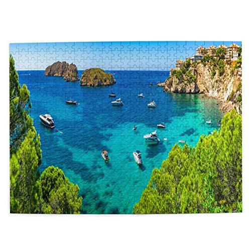 LiBei 500 Teile Puzzle für Erwachsene,Bild Puzzle,farbenfrohes Legespiel,Mallorca-Panorama-Schöne-Seestück-Bucht-Luxus,Puzzlesets für Familien,Intellektuelle Herausforderung Puzzle für Kinder