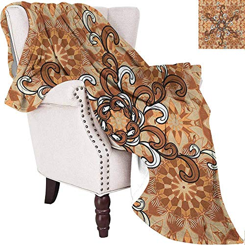 Lovii Tan and Brown Fluffy Blanket Abstract Floral Ornaments Pattern with Curly Petals Vintage Oriental Soft Warm Insulated Pet-Friendly Home Bed & Sofa Brown Tan White 50'x60'