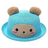 Bebes Gorro de Oso Orejas Divertidos, Verano Sombrero de Paja Gorro niño niña bebé Sol Gorro Playa Sombrero Animal Azul 2-6 años