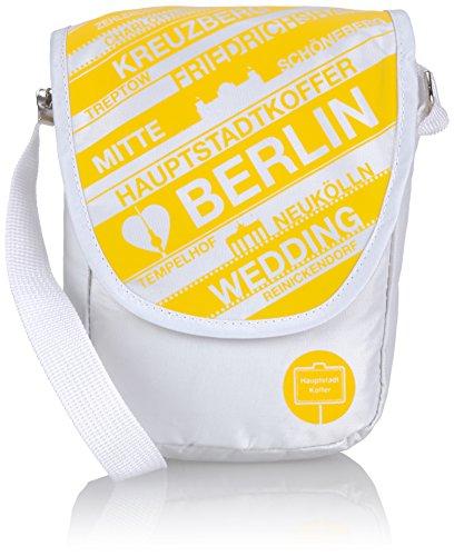 HAUPTSTADTKOFFER Umhängetasche Berlin Taschen 1.5 Liter Mehrfarbig (Weiß/Gelb) HK-B11098-S