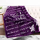 Jekeno Mom Blanket Double Sided Print Throw Blanket, Soft Warm Bed Couch Throw Blanket, Mom Gifts from Daughter or Son for Birthday, Mothers Day, Christmas - I Love You Mom 50'x60' (Purple)