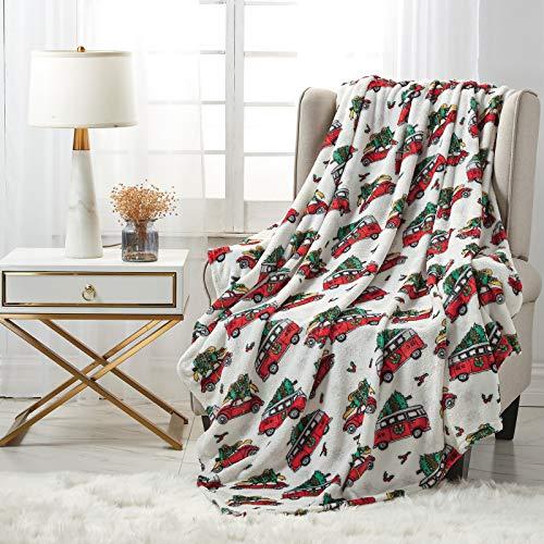 softan Flanelldecken für ganzes Jahr, weiche Fleecedecke für Bett und Sofa (130 x 150cm, Auto und Baum)