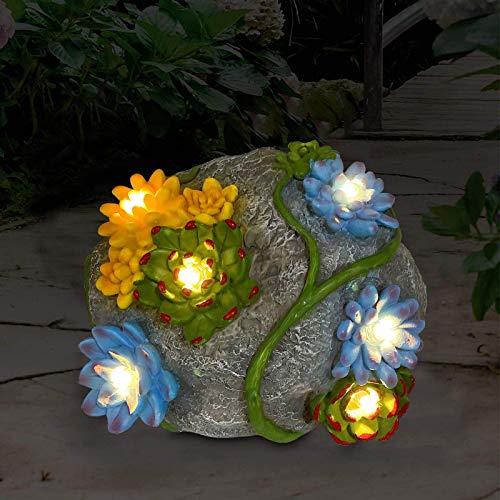 GJP Adorno de jardín Solar Estatua de Piedra de Roca con suculentas y 7 Luces LED decoración de césped al Aire Libre luz Solar de jardín para Patio balcón Camino Patio césped (Roca)