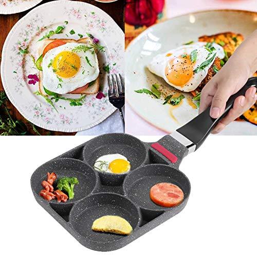 Poêles à crêpes,Moule à Omelette 4 trous à Frire Cuisine Petit-déjeuner Crêpes Poêle de Cuisson en Aluminium Poêle à Frire Moule Hamburger Aux œufs Avec Poignée Pour Open flame induction cooker