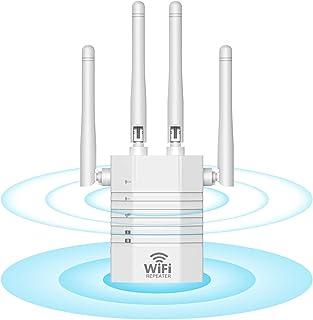 WiFi 無線LAN 中継器 WiFi 中継器 Wi-Fi 中継機 1200Mbps 5GHz 867Mbps, 2.4GHz 300Mbps Wifiブースター 無線LAN 増幅器 Wi-Fiレンジエクステンダ外部アンテナ付き 白