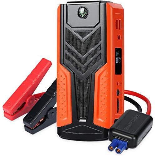 Avviatore Auto Booster Jump Starter Batteria 1200A 12V 18000mAh Multifunzione, AWANFI Avviamento Motore a Benzina 6.5L e Diesel 5.0L, Caricabatterie Portatile 2 Uscite USB Schermo LCD e Torcia LED SOS