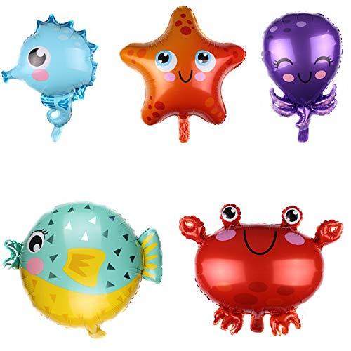 ZYSTMCQZ 5 unids cumpleaños marino mar animal dibujos animados cangrejo aluminio papel globo fiesta de cumpleaños decoración inflable bola niños juguete Adecuado para bañeras, carpas, vallas de juegos