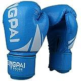 GINGPAI Boxing Gloves for Men Women,Punching Bag Gloves, Kickboxing ,Muay Thai,MMA Training Gloves(Blue-White, 12OZ)