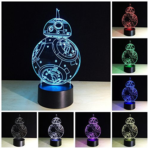 BB-8 3D Lampes Illusions Optiques,LED 3d Lampe de Nuit 7 Couleurs Tactile Lampe de Chevet Chambre Table Art Déco Enfant Lumière de Nuit avec Câble USB