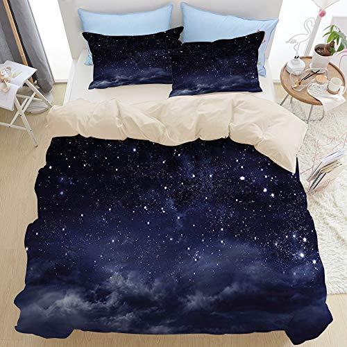 HUAYEXI Color Crema Set Biancheria da Letto,Vista eterea di The Dark Sky Atmosphere Nebula Fantasy Cosmic Universe Theme,1 Copripiumino 220x240cm+2 federe 50x80cm