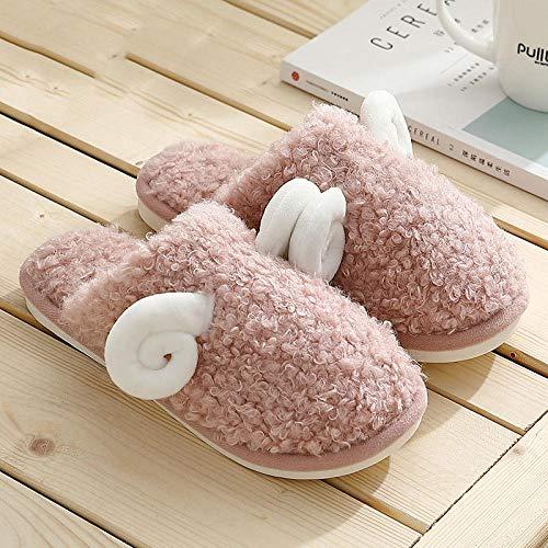 B/H Zapatos Antideslizantes de Interior para Hombres,Pantofole di Cotone pecorelle, pantofole di Peluche invernali femminili-Rosa_42-43,Memory Foam - Zapatilla de casa para Exteriores