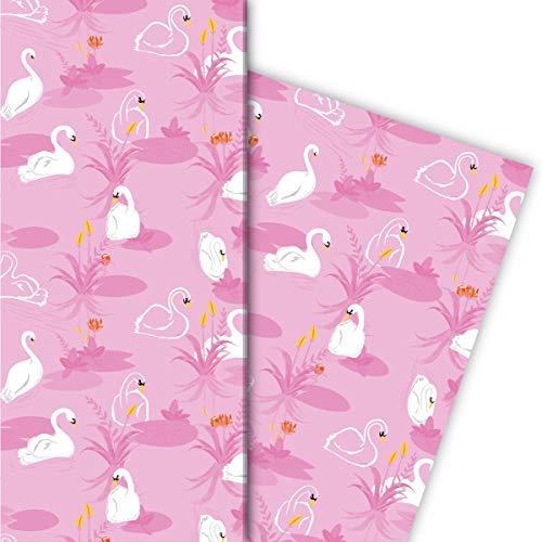 Kartenkaufrausch Romantisches Schwan Geschenkpapier Set 4 Bogen mit Schwänen auf See, rosa • liebe Geschenkverpackung 32 x 48cm, zu Ostern Weihnachten Geburtstag, universal Geschenkpapier