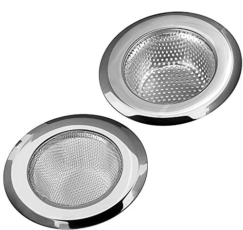 """Foonii 2PCS Kitchen Sink Strainer, Stainless Steel Sink Drain Strainer, Large Wide Rim 4.5"""" Diameter"""