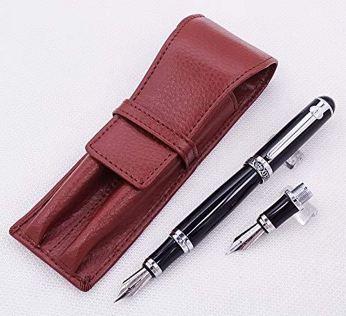Duke Pluma estilográfica negra de punta media + plumín doblado + funda de cuero para bolígrafo, juego de bolígrafo de dibujo de caligrafía intercambiable