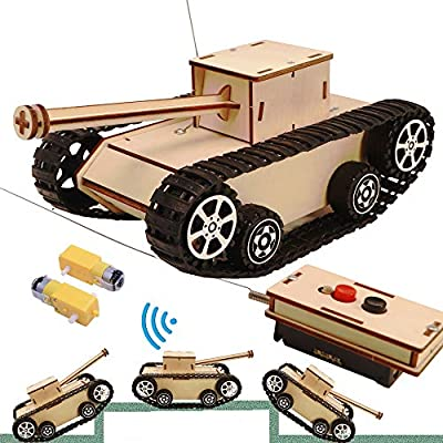 CYOEST DIY Wooden Kids Science Experiment Kits-Remote Control Off Road Tracked Tank and Solar Power Race Car,STEM Learning Toys Gifts Electric Motor Building Project for Kids (Tank Model Kit)
