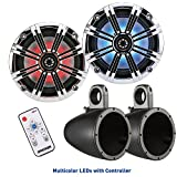 KICKER 8 Inch KM-Series Marine Chrome Grill Speaker Bundle 41KM84LCW with Black Wake Tower Enclosures and LED Remote