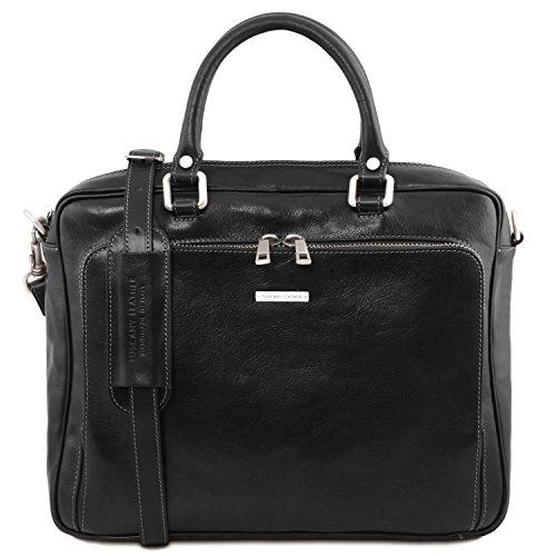 Tuscany Leather Pisa Cartella in pelle porta notebook con tasca frontale Nero