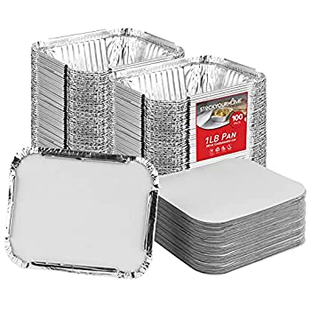 Stock Your Home 1 Lb Aluminum Pans with Lids  100 Pack  - Food Containers with Cardboard Lids - Disposable & Recyclable Takeout Trays with Lids - to Go Containers for Restaurants Catering Delis