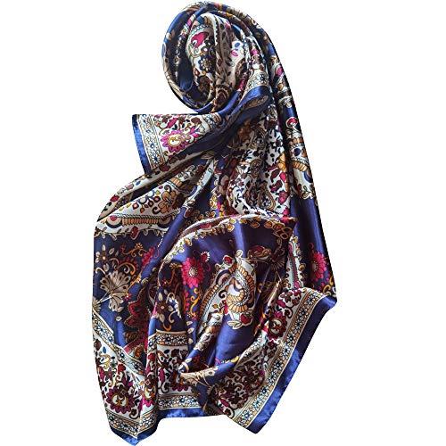 Pherolec Global Pañuelo de satén de seda 100% para mujer Pañuelos cuadrados 90 x 90 cm Cuello de cabeza Moda multifuncional para damas