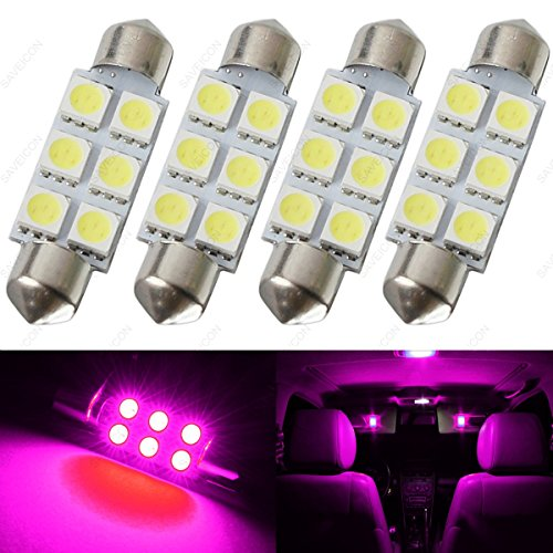 SAWE - 42MM 6-SMD 5050 Festoon Dome Map Interior LED Light Bulbs Lamp For 211, 212, 211-2, 212-2, 214-2, 560, 569, 578, 6413, 6429 (4 pieces) (Pink/Purple)