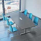 Easy Konferenztisch Bootsform 240x120 cm Anthrazit mit Elektrifizierung Besprechungstisch Tisch, Gestellfarbe:Silber