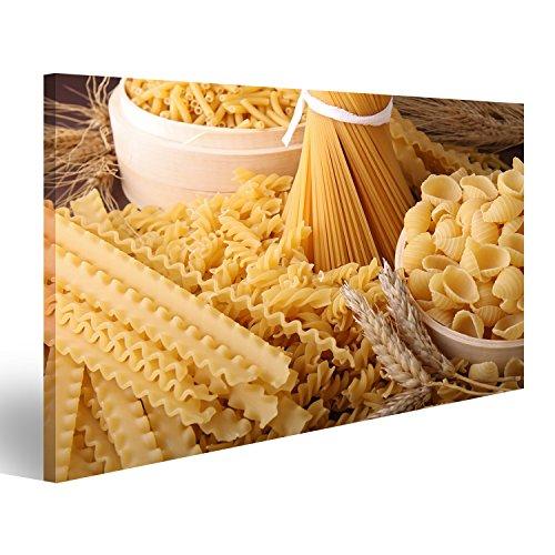 Bild Bilder auf Leinwand Sortiment von ungekochten Nudeln Pasta Küche Wandbild Leinwandbild Poster