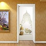 Türaufkleber Muslim Islamischen Papst 3D selbstklebende DIY Wasserdichte Pvc Wandaufkleber Removable Home Decor Fototapete