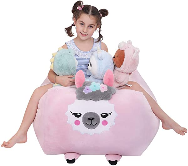 Stuffed Animals Bean Bag Cover Llama Plush Toy Storage XL Soft Stuffie Organization Alpaca Bean Bag Cover Replace Mesh Toy Hammock For Kids Toys Blankets Towels Clothes Household Supplie