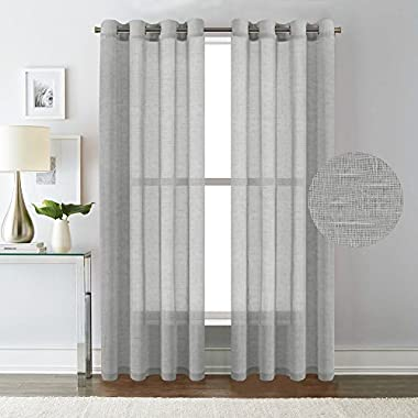 H.VERSAILTEX Elegant Natural Linen Sheer Curtains for Bedroom,Privacy Protection Nickel Grommet Window Panels/Drapes (Set of 2,52x84-Inch,Dove Gray)