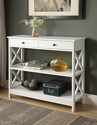 White Finish 3-Tier Console Sofa Entry Table with Shelf/Two Drawers