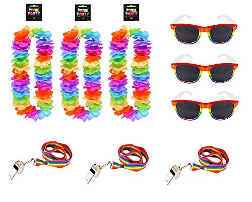 MBB 3 SETS OF GAY PRIDE LGBT RAINBOW FESTIVAL WEAR - SUNGLASSES WHISTLES & GARLANDS