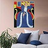 XIAOTAO Cuadros Decorativos Pintura al óleo sobre Lienzo de The Big Blue Robe y Mimosas Taps Decoración para el hogar Estética Post Print Hogar Regalo cumpleaños Regalo 50x70 cm